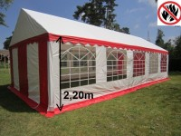 Partyzelt 5x10m Gigant 2,2m Seitenhöhe, rot PVC feuerresistent
