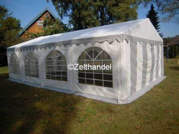 3x9m Partyzelt grau-weiß mit Bodenrahmen und Dachverstrebung