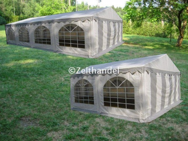 Kombizelt 5x8/5x4 grau-weiß mit 2 Dachplanen