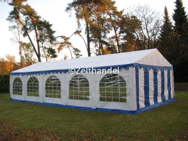 Partyzelt 4x10 blau-weiß, PVC, Bodenrahmen und Dachverstrebung