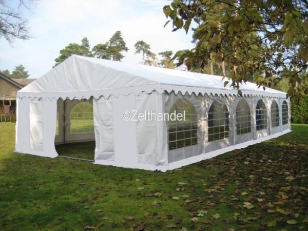 Partyzelt 6x12m weiß mit Bodenrahmen und Dachverstrebung