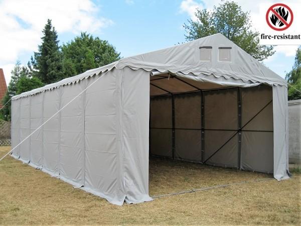Lagerzelt 6x12 XXL grau feuerfest PVC - 3m Einfahrtshöhe