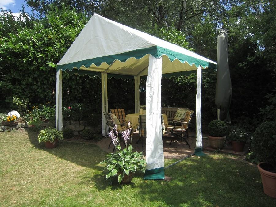 Gartenzelt 3x4m ohne Seitenwände gruen-weiß
