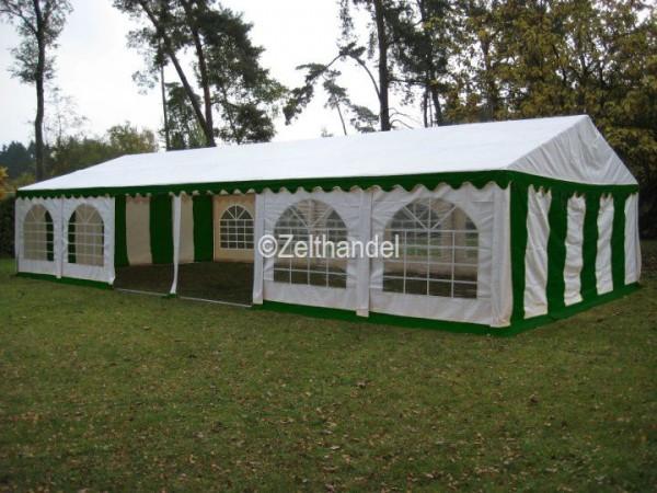 Partyzelt 6x12m grün-weiß mit Bodenrahmen und Dachverstrebung