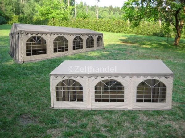 Kombizelt 6x10/6x6 grau-weiß mit 2 Dachplanen