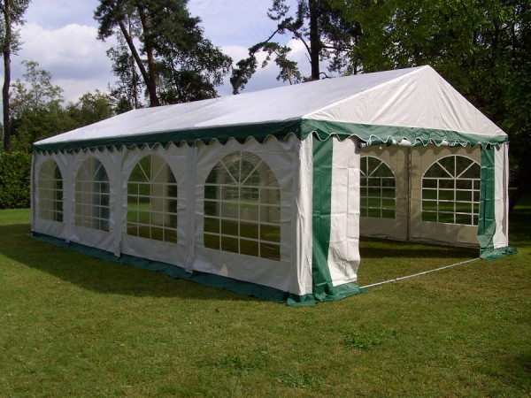 Partyzelt 6x8m, PVC grün-weiß Boden- und Dachverstrebung