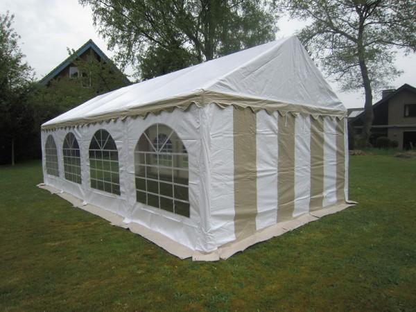 Zelt 5x8 beige-weiß mit Dach- u.Bodenverstärkung