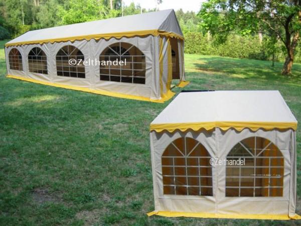 Kombizelt 3x8/3x6 gelb-weiß mit 2 Dachplanen