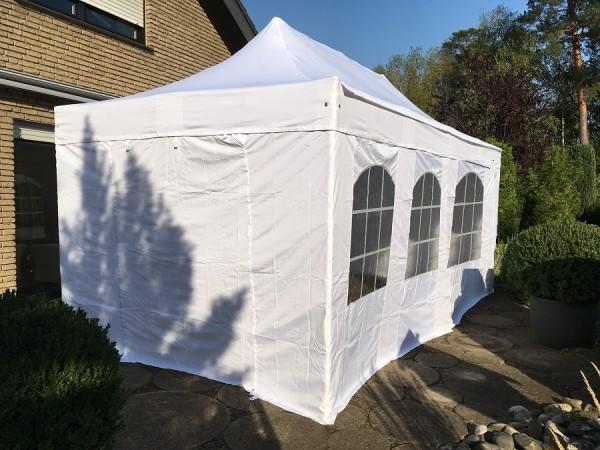 Faltzelt 3x4,5 m weiß ALU mit Seitenwänden