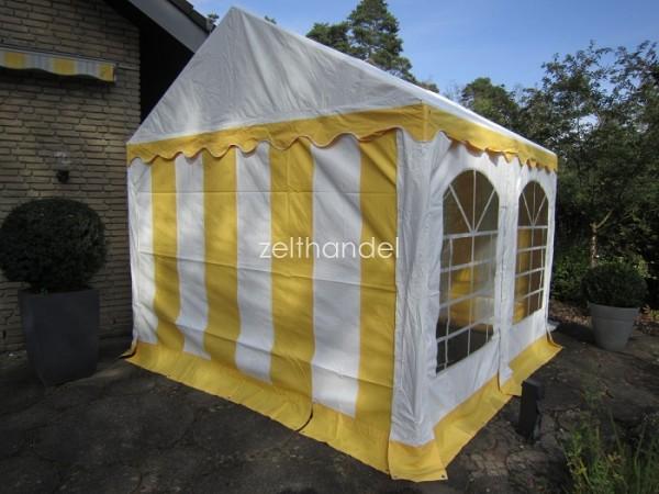 Partyzelt 4x4m gelb-weiß PVC, Bodenrahmen und Dachverstärkung