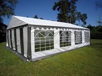 6x8m Festzelt PE 240g/m² grau-weiß