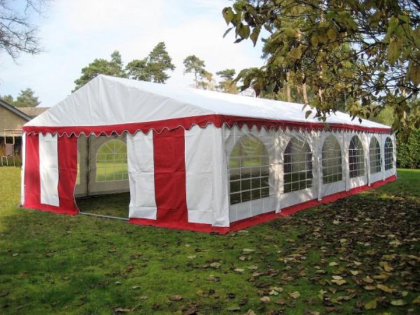 6x12m Zelt rot-weiß wasserdicht PVC