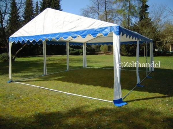 Zeltdach 6x6m, PVC blau-weiß
