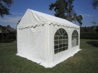 3x4m Partyzelt, PVC weiß, Bodenrahmen und Dachverstrebung