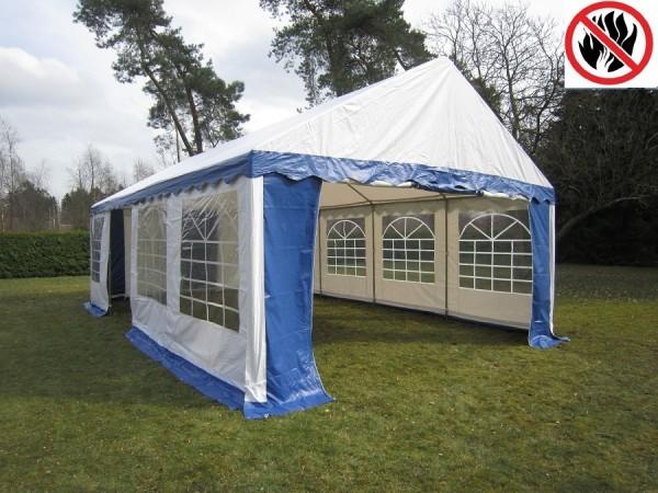 Partyzelt 4x8m blau-weiß, 2,2m Seitenhöhe, PVC feuerresistent