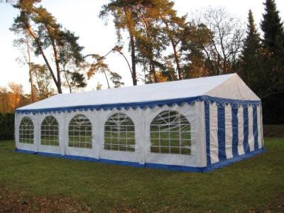 Partyzelt 5x10 blau-weiß mit Bodenrahmen und Dachverstrebung