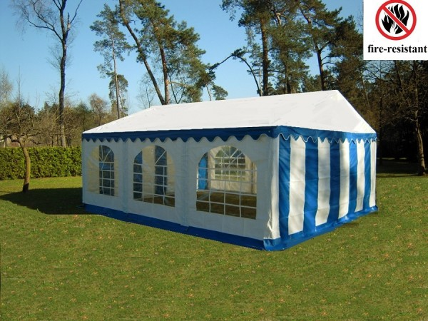 Gartenzelt Partyzelt 4x6m blau feuerfest PVC