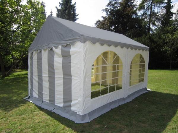 Partyzelt 4x4 grau-weiß graues Dach, mit Dach und Bodenverstärkung