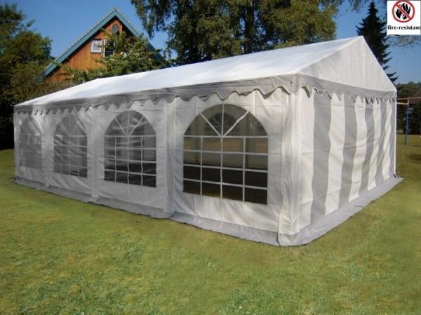 Partyzelt 3x8m PVC feuerfest grau-weiß mit Klett Seitenteile