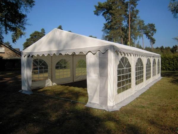 Partyzelt 6x10m, PVC grau-weiß, Bodenrahmen und Dachverstrebung