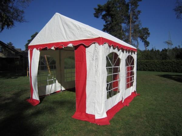 Partyzelt 3x3m, PVC rot-weiß mit Bodenrahmen