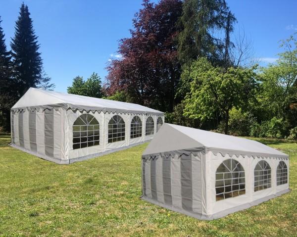 Kombizelt 5x10m und 5x6m grau-weiß PVC