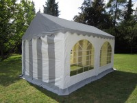 Partyzelt 4x4m PVC grau-weiß, Dach und Bodenverstärkung
