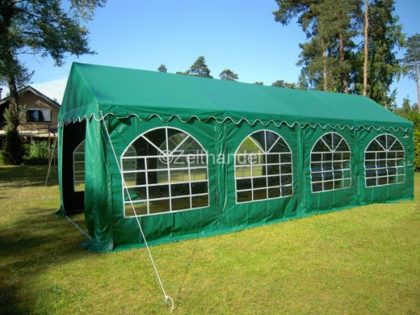 Partyzelt 3x8 grün mit Bodenrahmen und Dachverstrebung