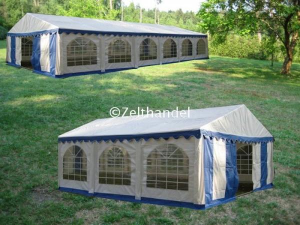 Kombizelt 6x12/6x6 blau-weiß mit 2 Dachplanen