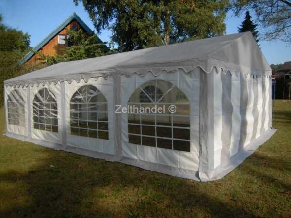 Partyzelt 5x8 PVC grau-weiß mit grauem Dach