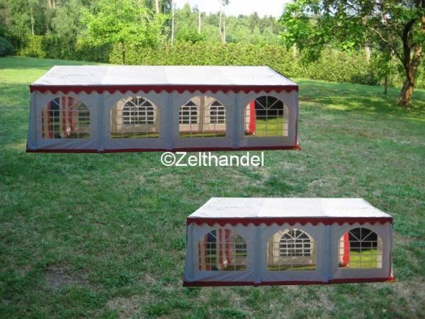 Kombizelt 5x8/5x6 rot-weiß mit 2 Dachplanen