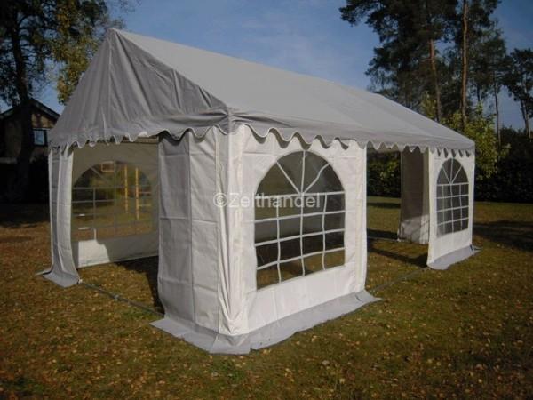 Partyzelt 4x6 PVC grau-weiß graues Dach mit Dach- und Bodenverstärkung