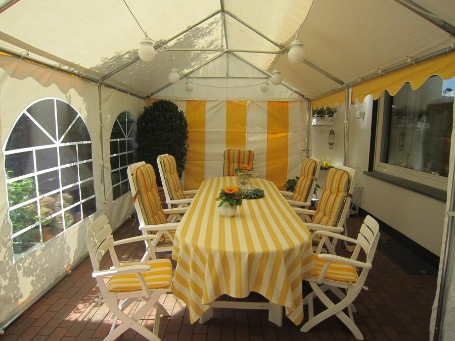 3x6m Gartenzelt gelb-weiß wasserdicht PVC